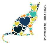 cat shape vector design... | Shutterstock .eps vector #586545698