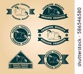 vintage organic harvest stamps... | Shutterstock .eps vector #586546580