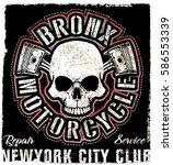 skull vintage motorcycle logo... | Shutterstock .eps vector #586553339