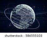 futuristic world globe... | Shutterstock . vector #586555103