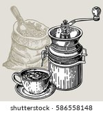 manual coffee grinder and... | Shutterstock .eps vector #586558148