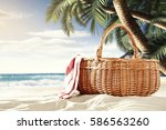 on a sunny day at the beach... | Shutterstock . vector #586563260