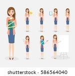 business woman character in job ... | Shutterstock .eps vector #586564040