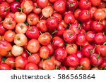 group of cherries forming a... | Shutterstock . vector #586565864