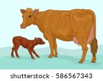 red cow with calf | Shutterstock .eps vector #586567343