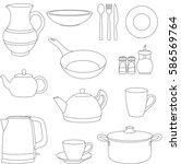 set of cartoon tableware. pot ... | Shutterstock .eps vector #586569764