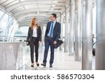 confident business partners... | Shutterstock . vector #586570304