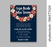 floral wedding invitation | Shutterstock .eps vector #586577624