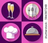 restaurant icons set flat style ... | Shutterstock .eps vector #586587248