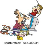 cartoon stay at home dad trying ... | Shutterstock .eps vector #586600034