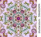 seamless bandanna with pink... | Shutterstock .eps vector #586602494