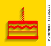 birthday cake sign. vector. red ... | Shutterstock .eps vector #586603133
