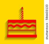 birthday cake sign. vector. red ... | Shutterstock .eps vector #586603133