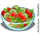 glass dish with a salad of... | Shutterstock .eps vector #586606844