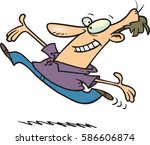 cartoon man leaping with joy | Shutterstock .eps vector #586606874