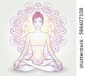 yoga asana padmasana  lotus... | Shutterstock . vector #586607108