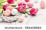 easter decoration with eggs and ... | Shutterstock . vector #586608884