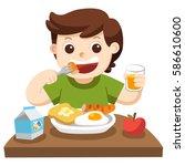 a little boy happy to eat...   Shutterstock .eps vector #586610600