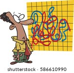 cartoon man looking at mixed up ... | Shutterstock .eps vector #586610990