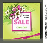 floral spring sale card  banner ... | Shutterstock .eps vector #586611074