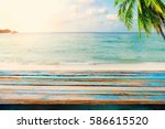 top of wood table on blurred... | Shutterstock . vector #586615520