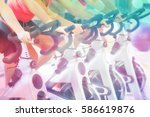 mid section of people working... | Shutterstock . vector #586619876