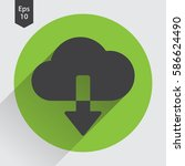 download from cloud flat icon.... | Shutterstock .eps vector #586624490