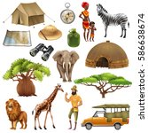 colored and isolated safari set ... | Shutterstock .eps vector #586638674