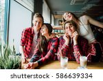 group of young friends hanging... | Shutterstock . vector #586639334