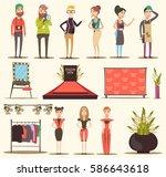catwalk fashion set flat... | Shutterstock .eps vector #586643618