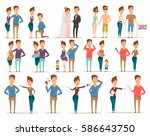 marriage divorce set of flat... | Shutterstock .eps vector #586643750