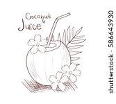 coconut. juice. sketch.... | Shutterstock . vector #586643930