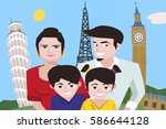 cartoon family taking selfie... | Shutterstock .eps vector #586644128