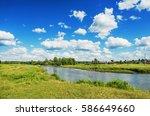 beautiful summer rural... | Shutterstock . vector #586649660