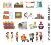 hostel isolated retro icons set ... | Shutterstock .eps vector #586653344