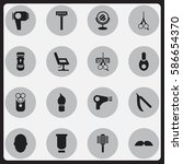 set of 16 editable tonsorial...