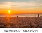beautiful sunrise in barcelona  | Shutterstock . vector #586654994