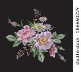 embroidery colorful floral... | Shutterstock .eps vector #586660229
