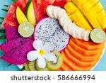 tropical fruits assortment on a ... | Shutterstock . vector #586666994