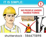 forklift safety. flat vector. | Shutterstock .eps vector #586675898