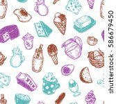 hand drawn pattern with vector... | Shutterstock .eps vector #586679450