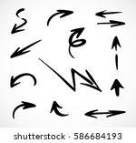 hand drawn arrows  vector set | Shutterstock .eps vector #586684193