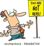 cartoon man surprised by sign | Shutterstock .eps vector #586686764