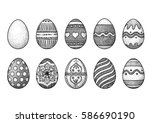easter eggs illustration ... | Shutterstock .eps vector #586690190