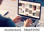 composite image of website page ... | Shutterstock . vector #586692050