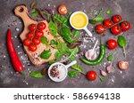 fresh organic vegetables  olive ... | Shutterstock . vector #586694138