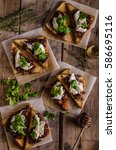 rustic toast with caramelized... | Shutterstock . vector #586695116