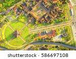 city mitad del mundo center of...   Shutterstock . vector #586697108