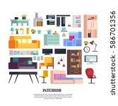 set of modern home furniture ...   Shutterstock .eps vector #586701356