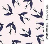 swallow pattern  vector ... | Shutterstock .eps vector #586706138